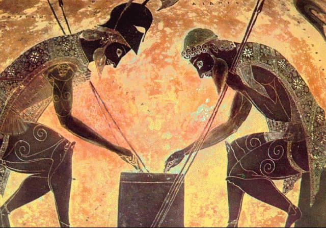 Aquiles e Pátroclo - Vaso Grego.