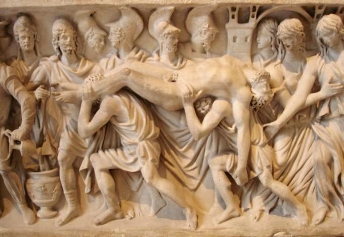 O Corpo de Heitor é carregado pelos troianos.