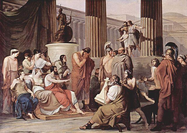 Odisseu arrebatado pela canção de Demódoco, de Francesco Hayez, 1813-15