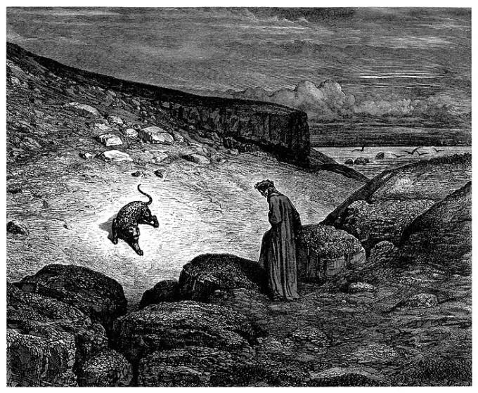 Dante acuado pela fera(o Poder) - Divina Comédia - Gravura de Gustave Doré