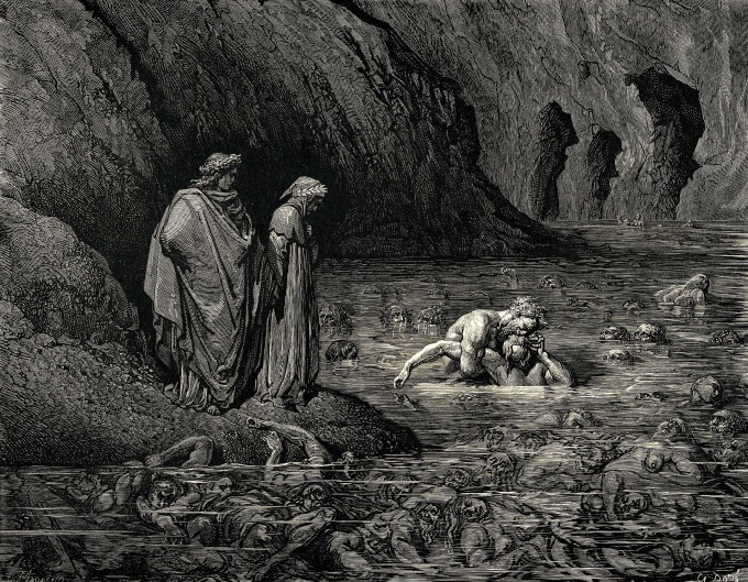 A punição infernal dos pecadores ( Gravura de Gustav Doré para A Divina Comédia)