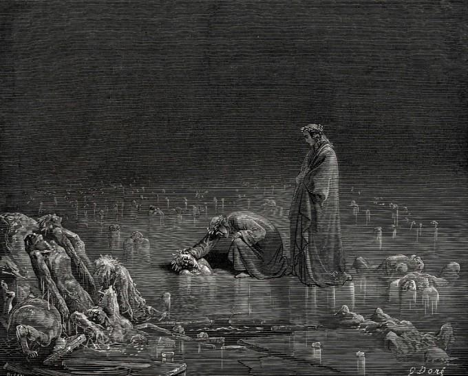 Nono Ciclo, dos traidores, mergulhados no rio gelado Cócito (Gravura de Gustav Doré)