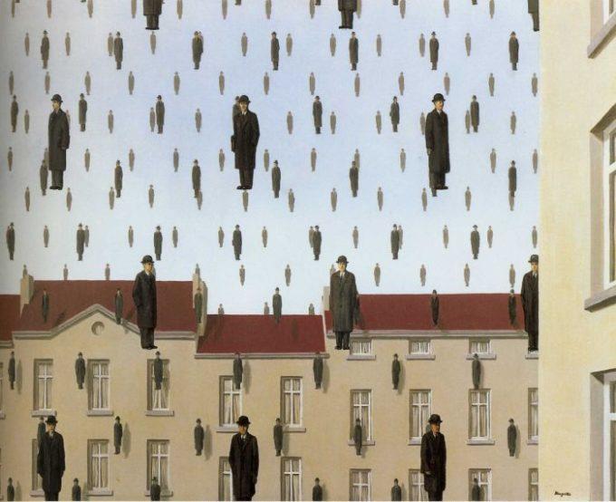 As várias quedas (Imagem Golconde - René Magritte)
