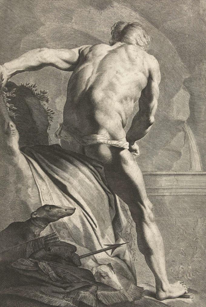 Narciso na Fonte (Cornelis van Dalen II (Dutch; 1638–ca. 1664)