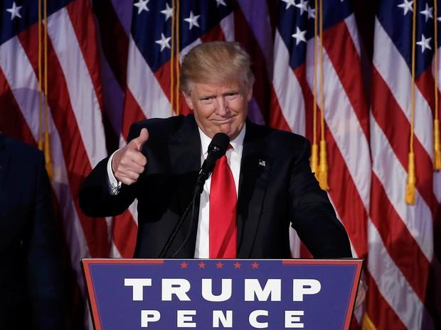 O discurso da vitória improvável (Foto: Mike Segar/Reuters)